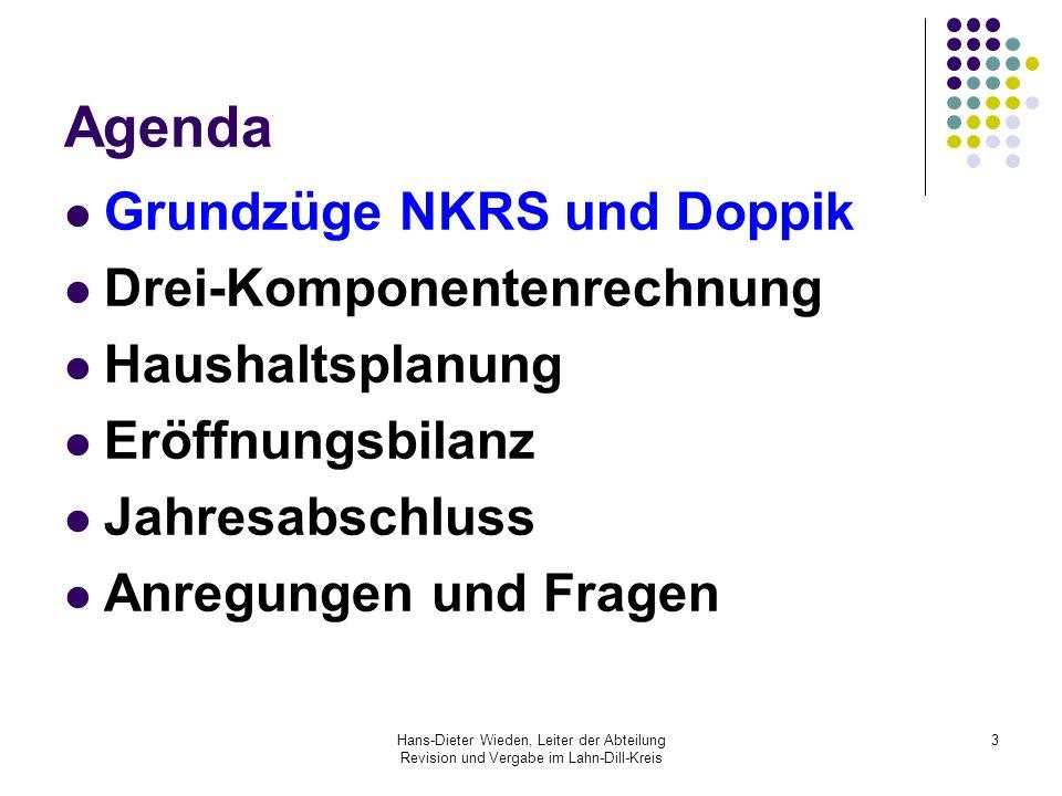 Hans-Dieter Wieden, Leiter der Abteilung Revision und Vergabe im Lahn-Dill-Kreis 14 Verwaltungskontenrahmen Ein Kontenrahmen gibt die Gliederung nach Kontenklassen (KK), Kontenobergruppen (KOG), Kontengruppen (KG), Hauptkonten und Konten vor.