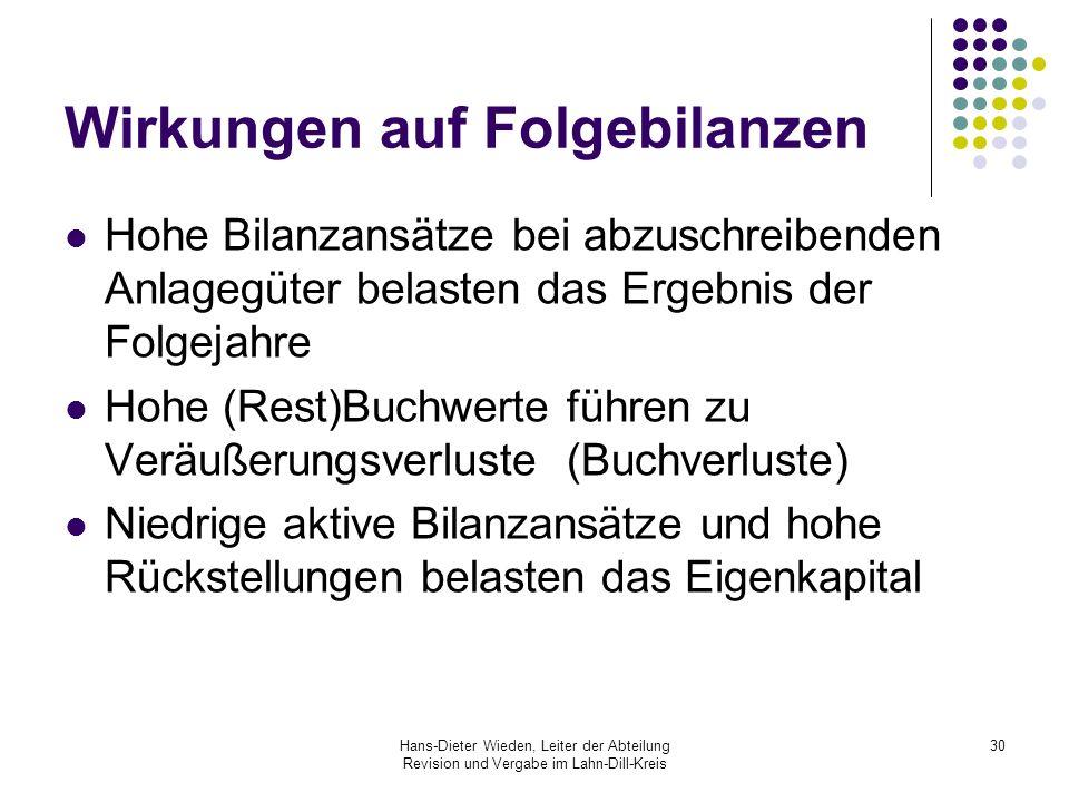 Hans-Dieter Wieden, Leiter der Abteilung Revision und Vergabe im Lahn-Dill-Kreis 30 Wirkungen auf Folgebilanzen Hohe Bilanzansätze bei abzuschreibende