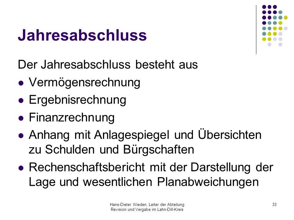 Hans-Dieter Wieden, Leiter der Abteilung Revision und Vergabe im Lahn-Dill-Kreis 33 Jahresabschluss Der Jahresabschluss besteht aus Vermögensrechnung