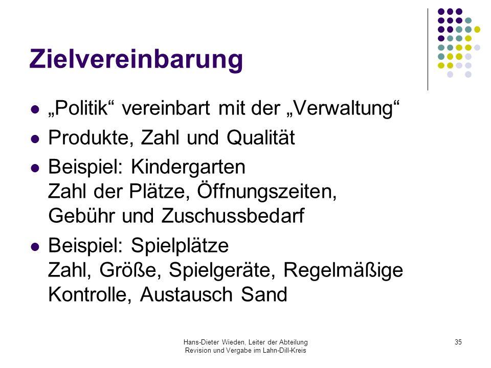 Hans-Dieter Wieden, Leiter der Abteilung Revision und Vergabe im Lahn-Dill-Kreis 35 Zielvereinbarung Politik vereinbart mit der Verwaltung Produkte, Z