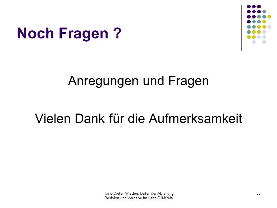 Hans-Dieter Wieden, Leiter der Abteilung Revision und Vergabe im Lahn-Dill-Kreis 36 Noch Fragen ? Anregungen und Fragen Vielen Dank für die Aufmerksam