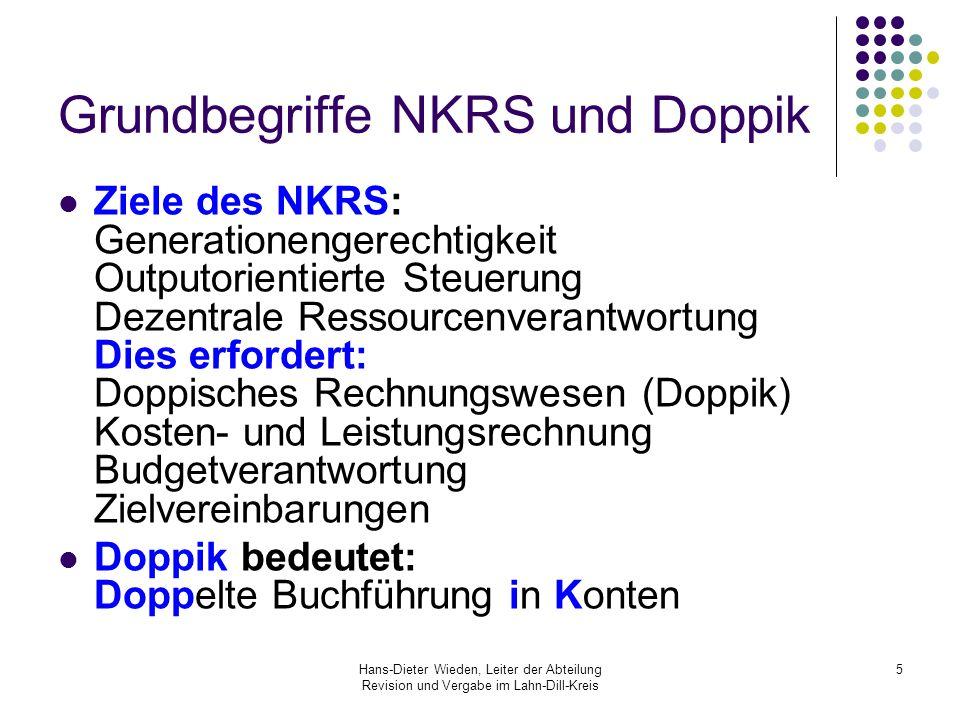 Hans-Dieter Wieden, Leiter der Abteilung Revision und Vergabe im Lahn-Dill-Kreis 5 Grundbegriffe NKRS und Doppik Ziele des NKRS: Generationengerechtig