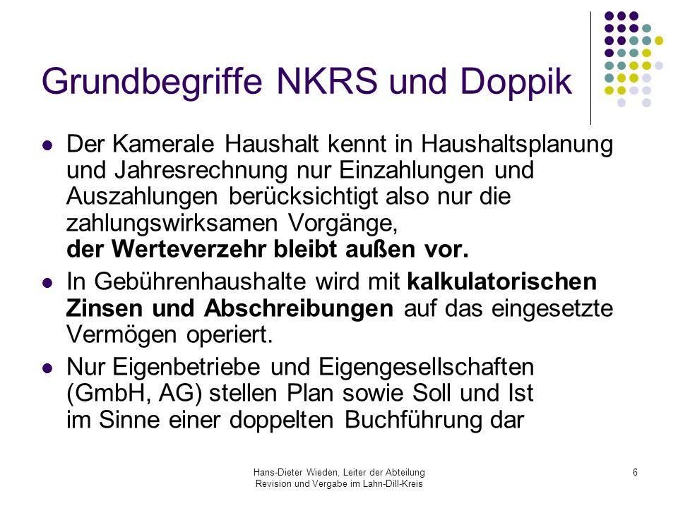 Hans-Dieter Wieden, Leiter der Abteilung Revision und Vergabe im Lahn-Dill-Kreis 7 Grundbegriffe NKRS und Doppik Bisher: Wie viel Geld haben wir zum Verteilen.