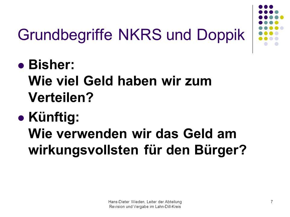 Hans-Dieter Wieden, Leiter der Abteilung Revision und Vergabe im Lahn-Dill-Kreis 7 Grundbegriffe NKRS und Doppik Bisher: Wie viel Geld haben wir zum V