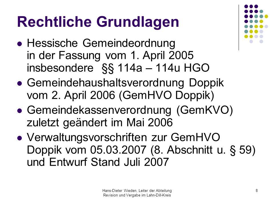 Hans-Dieter Wieden, Leiter der Abteilung Revision und Vergabe im Lahn-Dill-Kreis 19 Haushaltsplanung Bestandteile der Haushaltsplanung sind: Haushaltssatzung Stellenplan Ergebnisplan mit Teilergebnisplänen Finanzplan mit Teilfinanzplänen nur für Investitionen Investitionsplan