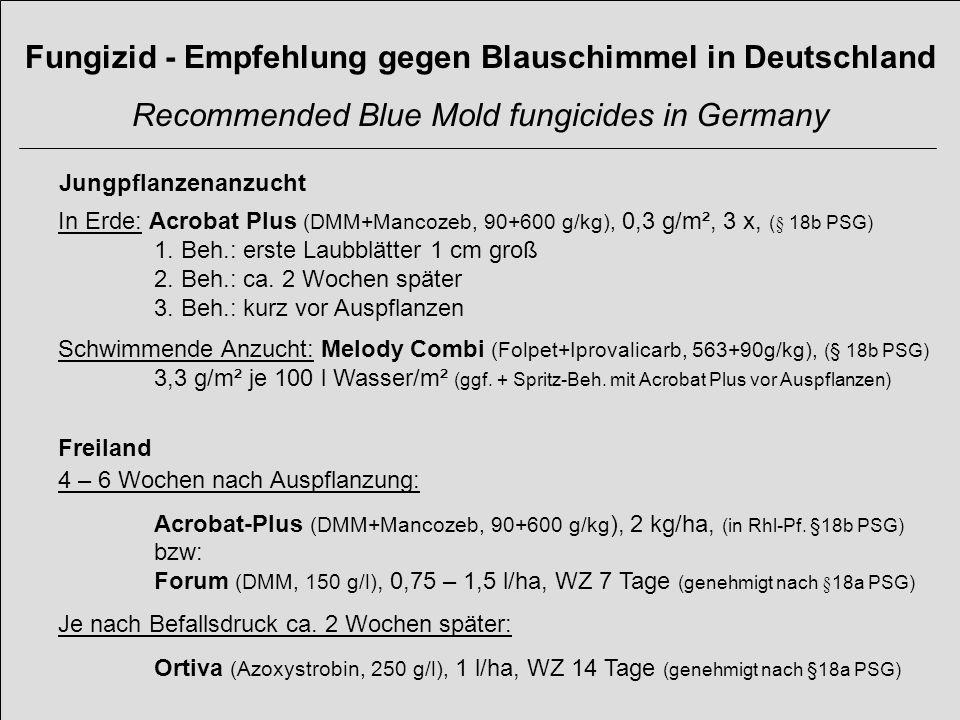 Jungpflanzenanzucht In Erde: Acrobat Plus (DMM+Mancozeb, 90+600 g/kg), 0,3 g/m², 3 x, (§ 18b PSG) 1. Beh.: erste Laubblätter 1 cm groß 2. Beh.: ca. 2