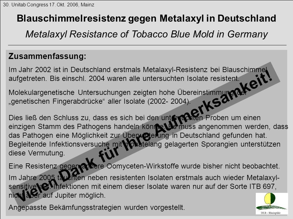 Zusammenfassung: 30. Unitab Congress 17. Okt. 2006, Mainz Blauschimmelresistenz gegen Metalaxyl in Deutschland Metalaxyl Resistance of Tobacco Blue Mo