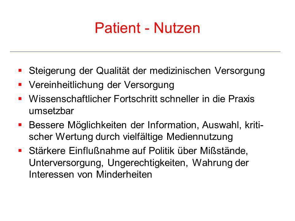Patient - Nutzen Steigerung der Qualität der medizinischen Versorgung Vereinheitlichung der Versorgung Wissenschaftlicher Fortschritt schneller in die