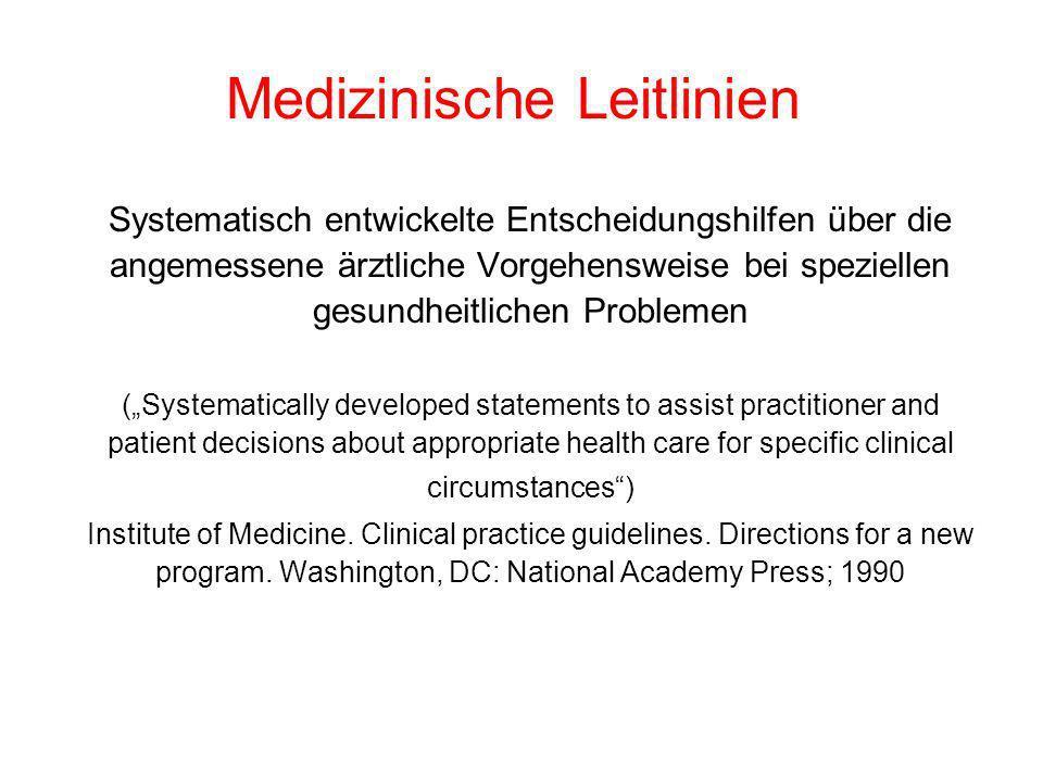 Medizinische Leitlinien Systematisch entwickelte Entscheidungshilfen über die angemessene ärztliche Vorgehensweise bei speziellen gesundheitlichen Pro