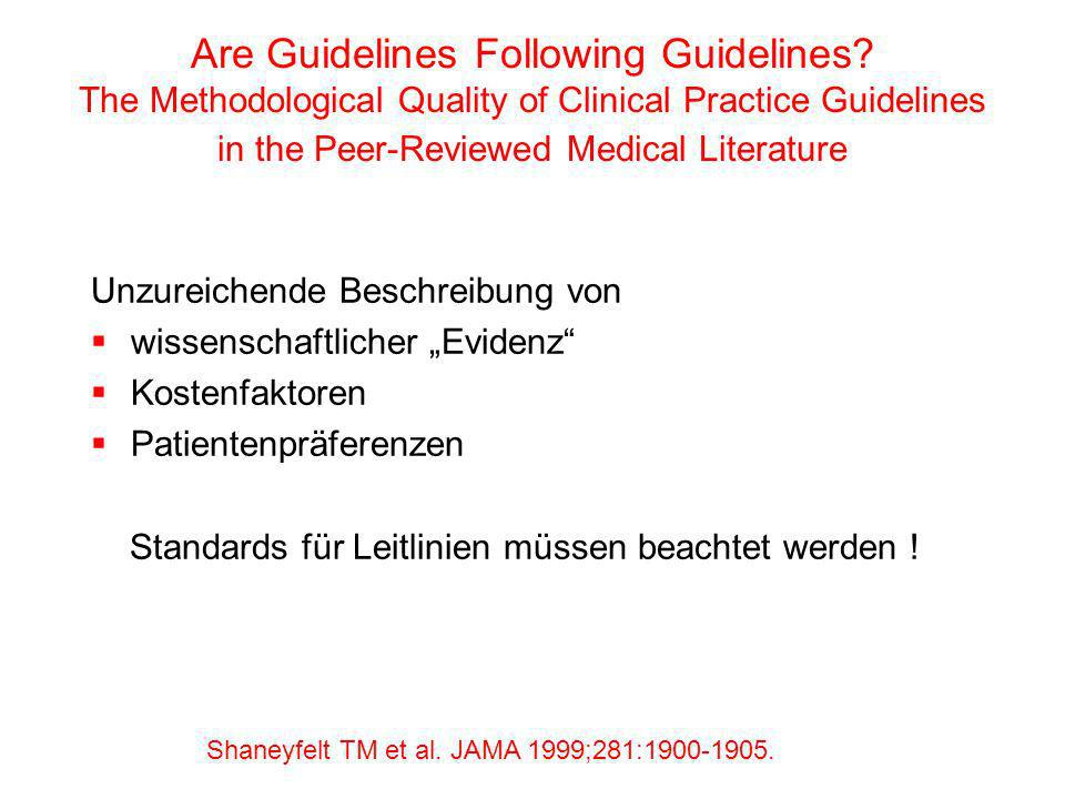 Are Guidelines Following Guidelines? The Methodological Quality of Clinical Practice Guidelines in the Peer-Reviewed Medical Literature Unzureichende