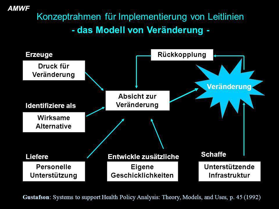 Wirksame Alternative Absicht zur Veränderung Personelle Unterstützung Eigene Geschicklichkeiten Unterstützende Infrastruktur Veränderung Konzeptrahmen