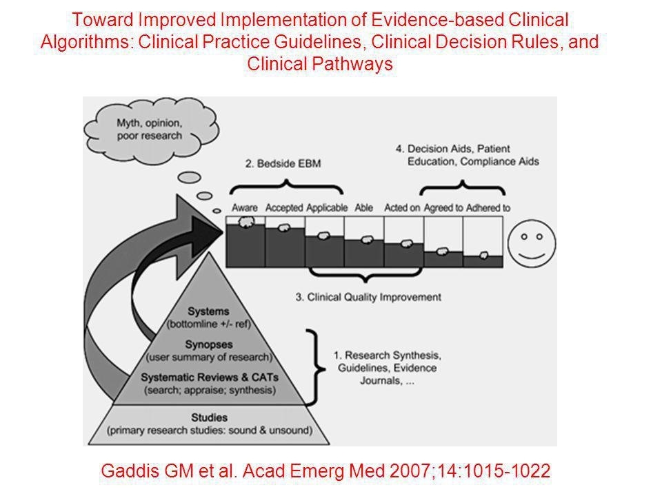 Toward Improved Implementation of Evidence-based Clinical Algorithms: Clinical Practice Guidelines, Clinical Decision Rules, and Clinical Pathways Gad