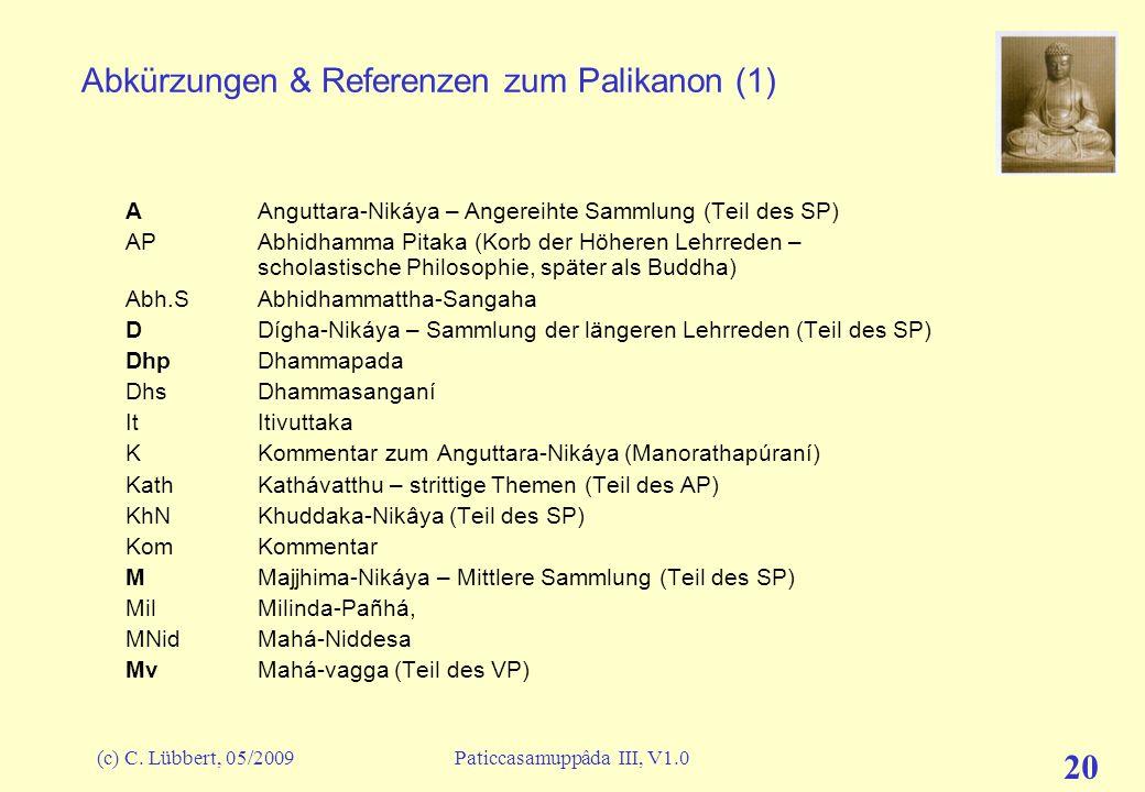 (c) C. Lübbert, 05/2009Paticcasamuppâda III, V1.0 20 Abkürzungen & Referenzen zum Palikanon (1) A Anguttara-Nikáya – Angereihte Sammlung (Teil des SP)