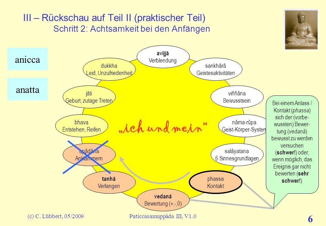 (c) C. Lübbert, 05/2009Paticcasamuppâda III, V1.0 6 III – Rückschau auf Teil II (praktischer Teil) Schritt 2: Achtsamkeit bei den Anfängen ich und mei