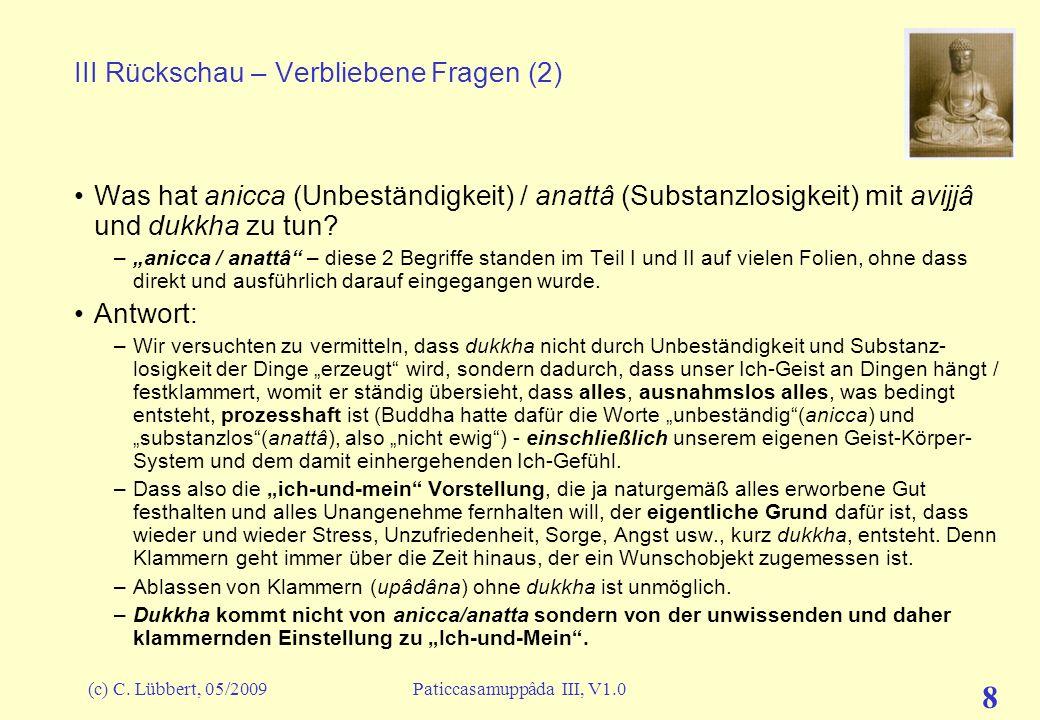 (c) C. Lübbert, 05/2009Paticcasamuppâda III, V1.0 8 III Rückschau – Verbliebene Fragen (2) Was hat anicca (Unbeständigkeit) / anattâ (Substanzlosigkei
