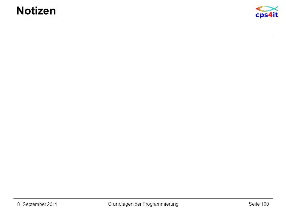 Notizen 8. September 2011Seite 100Grundlagen der Programmierung
