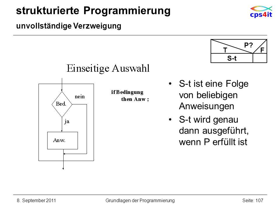 strukturierte Programmierung unvollständige Verzweigung 8. September 2011Seite: 107Grundlagen der Programmierung S-t ist eine Folge von beliebigen Anw