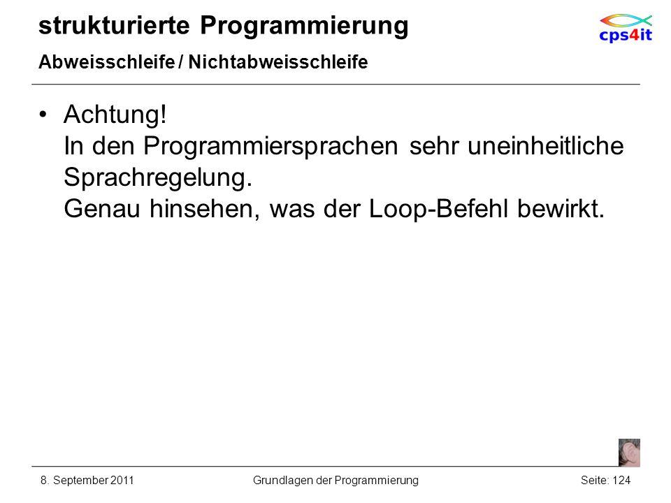 strukturierte Programmierung Abweisschleife / Nichtabweisschleife Achtung! In den Programmiersprachen sehr uneinheitliche Sprachregelung. Genau hinseh