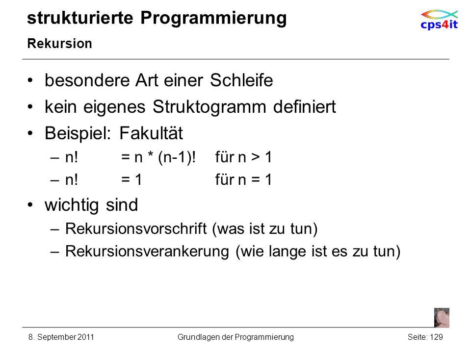 strukturierte Programmierung Rekursion besondere Art einer Schleife kein eigenes Struktogramm definiert Beispiel: Fakultät –n!= n * (n-1)!für n > 1 –n