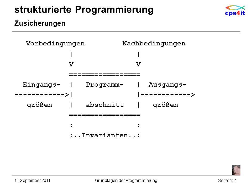 strukturierte Programmierung Zusicherungen 8. September 2011Seite: 131Grundlagen der Programmierung Vorbedingungen Nachbedingungen | | V V ===========