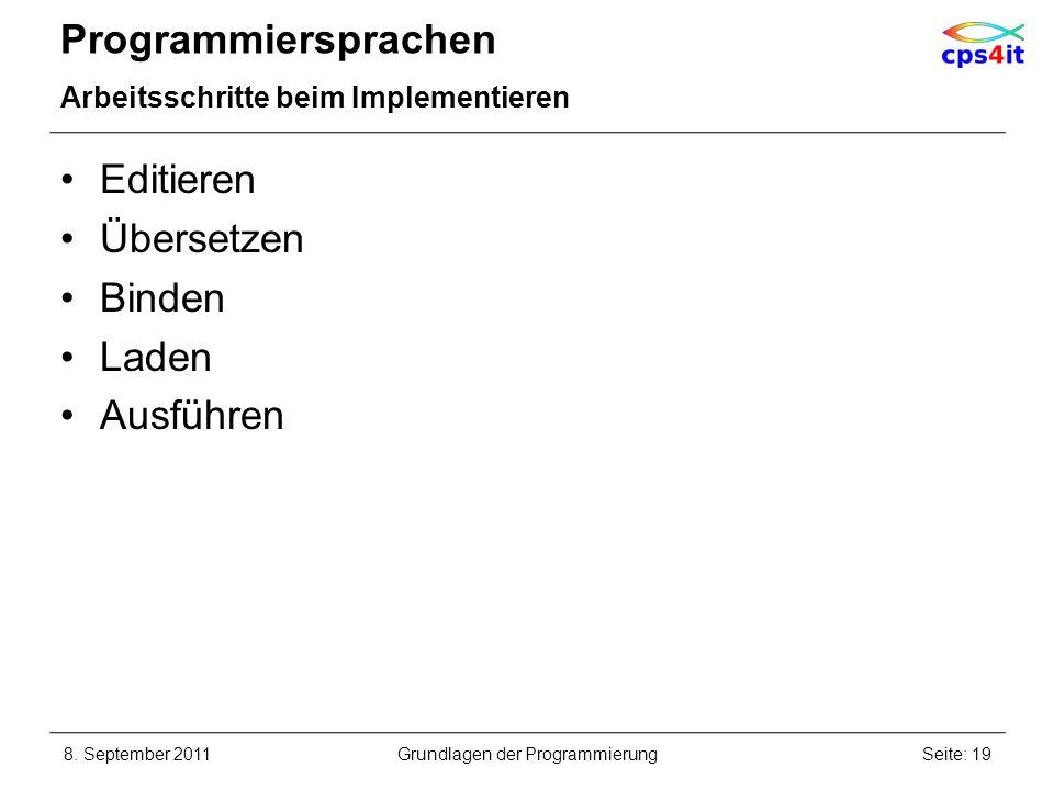 Programmiersprachen Arbeitsschritte beim Implementieren Editieren Übersetzen Binden Laden Ausführen 8. September 2011Seite: 19Grundlagen der Programmi