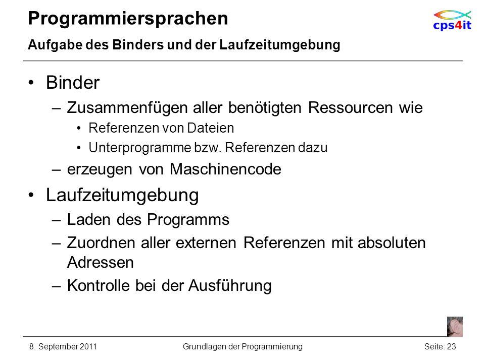 Programmiersprachen Aufgabe des Binders und der Laufzeitumgebung Binder –Zusammenfügen aller benötigten Ressourcen wie Referenzen von Dateien Unterpro