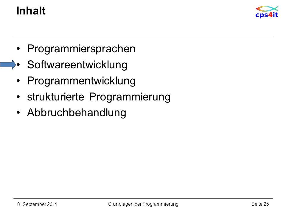 Inhalt Programmiersprachen Softwareentwicklung Programmentwicklung strukturierte Programmierung Abbruchbehandlung 8. September 2011Seite 25Grundlagen