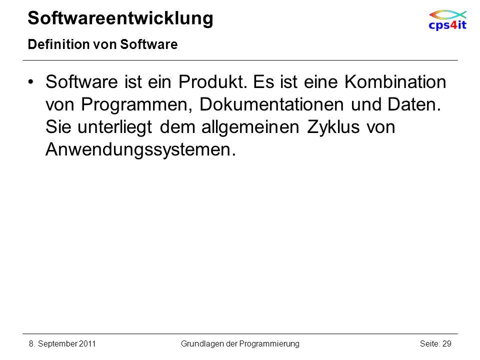 Softwareentwicklung Definition von Software Software ist ein Produkt. Es ist eine Kombination von Programmen, Dokumentationen und Daten. Sie unterlieg