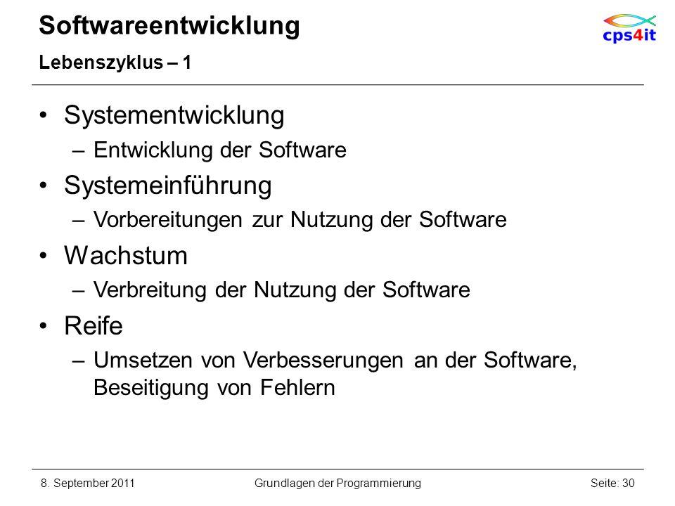 Softwareentwicklung Lebenszyklus – 1 Systementwicklung –Entwicklung der Software Systemeinführung –Vorbereitungen zur Nutzung der Software Wachstum –V