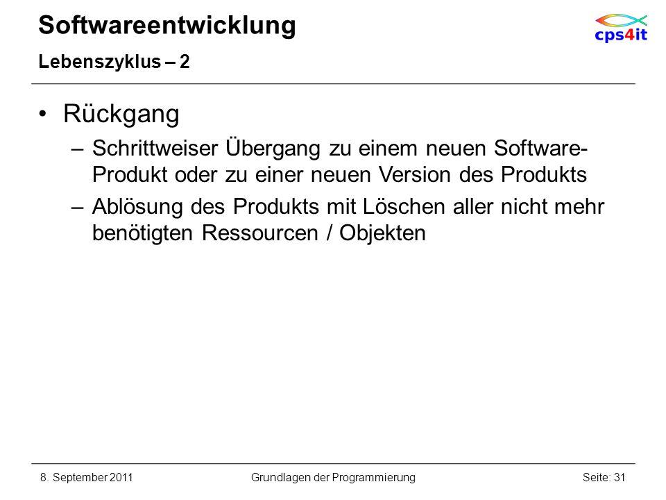 Softwareentwicklung Lebenszyklus – 2 Rückgang –Schrittweiser Übergang zu einem neuen Software- Produkt oder zu einer neuen Version des Produkts –Ablös