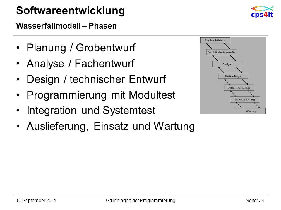 Softwareentwicklung Wasserfallmodell – Phasen Planung / Grobentwurf Analyse / Fachentwurf Design / technischer Entwurf Programmierung mit Modultest In