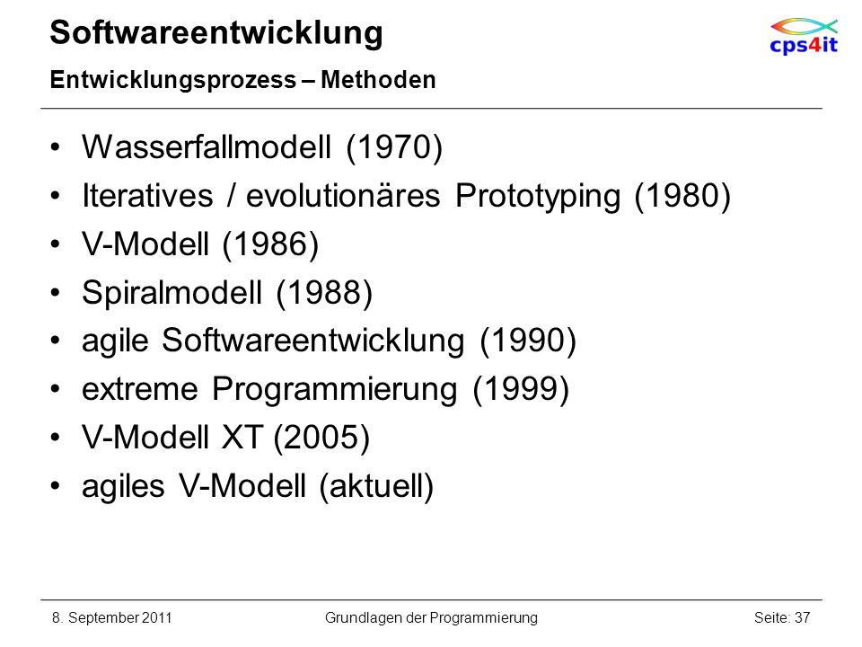 Softwareentwicklung Entwicklungsprozess – Methoden Wasserfallmodell (1970) Iteratives / evolutionäres Prototyping (1980) V-Modell (1986) Spiralmodell