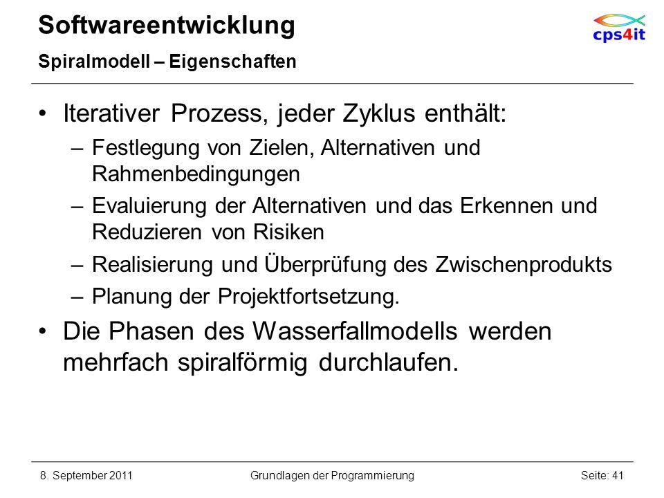 Softwareentwicklung Spiralmodell – Eigenschaften Iterativer Prozess, jeder Zyklus enthält: –Festlegung von Zielen, Alternativen und Rahmenbedingungen