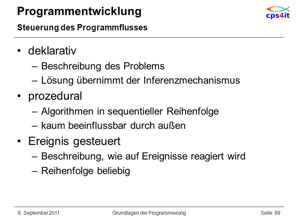 Programmentwicklung Steuerung des Programmflusses deklarativ –Beschreibung des Problems –Lösung übernimmt der Inferenzmechanismus prozedural –Algorith