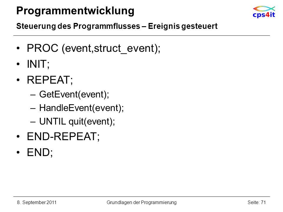 Programmentwicklung Steuerung des Programmflusses – Ereignis gesteuert PROC (event,struct_event); INIT; REPEAT; –GetEvent(event); –HandleEvent(event);