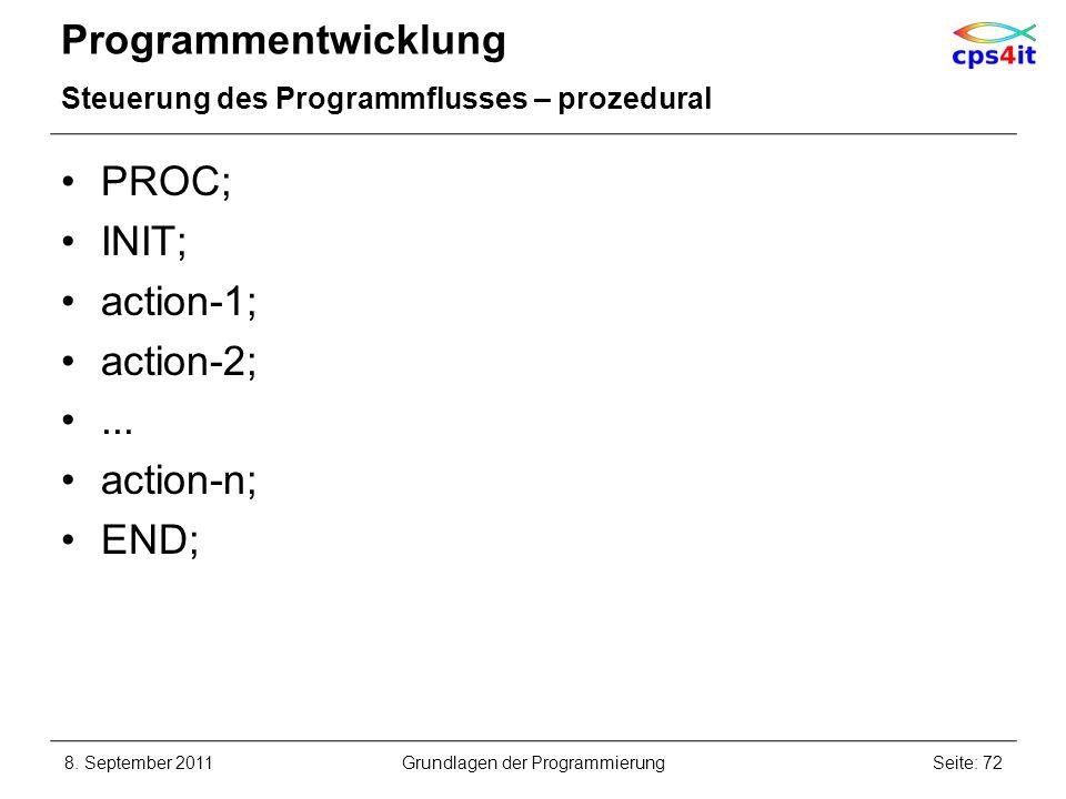 Programmentwicklung Steuerung des Programmflusses – prozedural PROC; INIT; action-1; action-2;... action-n; END; 8. September 2011Seite: 72Grundlagen