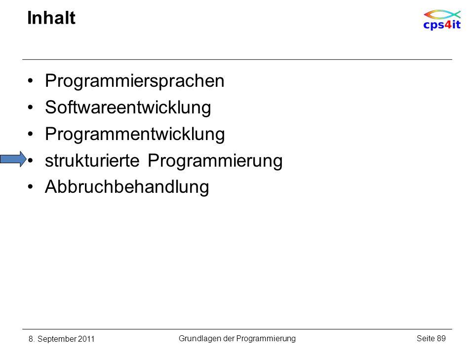 Inhalt Programmiersprachen Softwareentwicklung Programmentwicklung strukturierte Programmierung Abbruchbehandlung 8. September 2011Seite 89Grundlagen