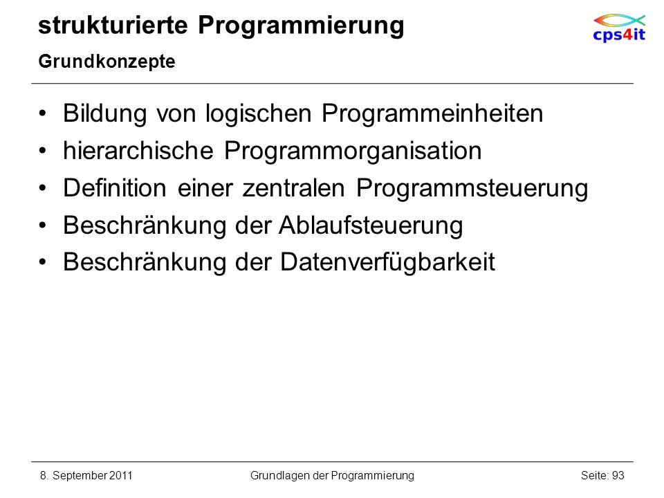strukturierte Programmierung Grundkonzepte Bildung von logischen Programmeinheiten hierarchische Programmorganisation Definition einer zentralen Progr