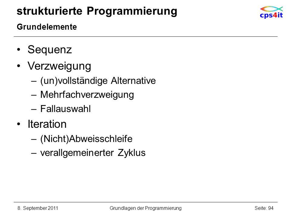 strukturierte Programmierung Grundelemente Sequenz Verzweigung –(un)vollständige Alternative –Mehrfachverzweigung –Fallauswahl Iteration –(Nicht)Abwei