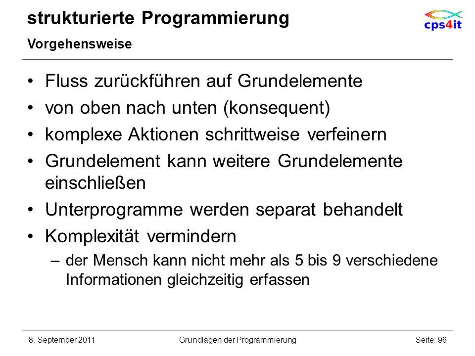 strukturierte Programmierung Vorgehensweise Fluss zurückführen auf Grundelemente von oben nach unten (konsequent) komplexe Aktionen schrittweise verfe