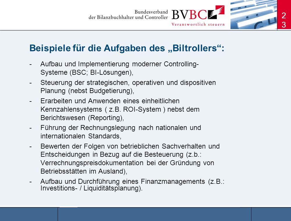 23 -Aufbau und Implementierung moderner Controlling- Systeme (BSC; BI-Lösungen), -Steuerung der strategischen, operativen und dispositiven Planung (ne