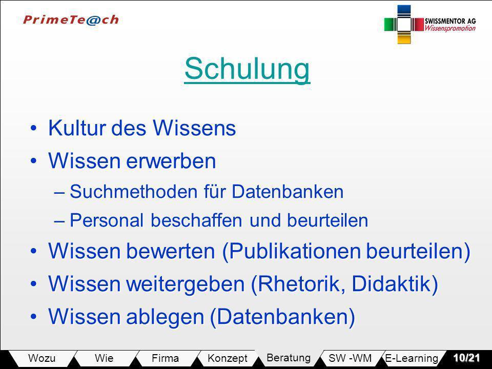 E-LearningSW -WMBeratungKonzeptFirmaWie Wozu10/21 Schulung Kultur des WissensKultur des Wissens Wissen erwerbenWissen erwerben –Suchmethoden für Daten