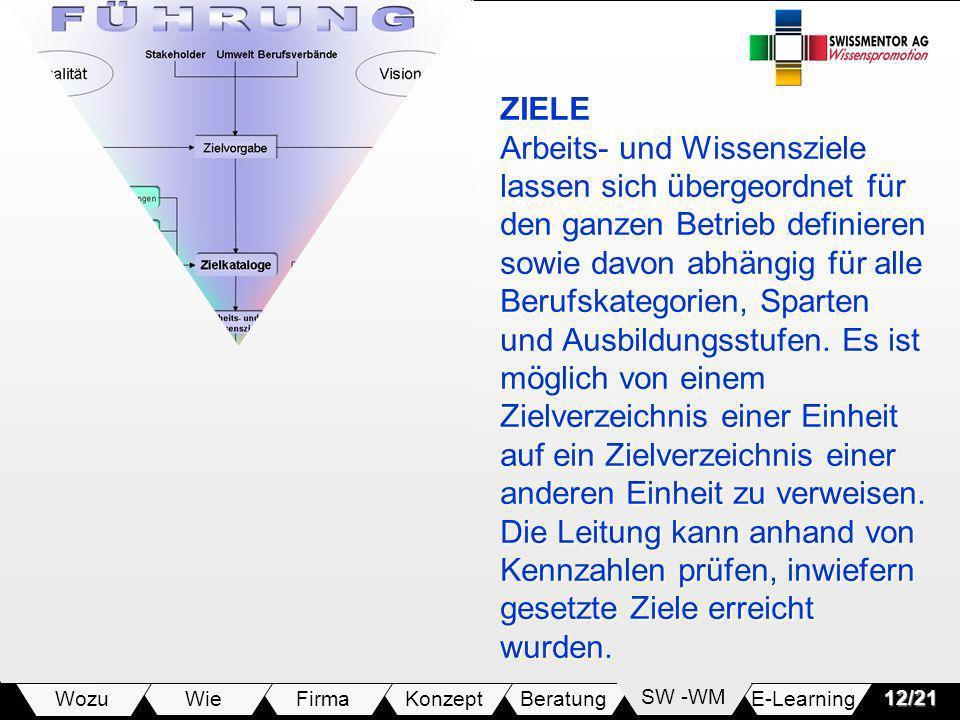 E-LearningSW -WMBeratungKonzeptFirmaWie Wozu12/21 ZIELE Arbeits- und Wissensziele lassen sich übergeordnet für den ganzen Betrieb definieren sowie dav