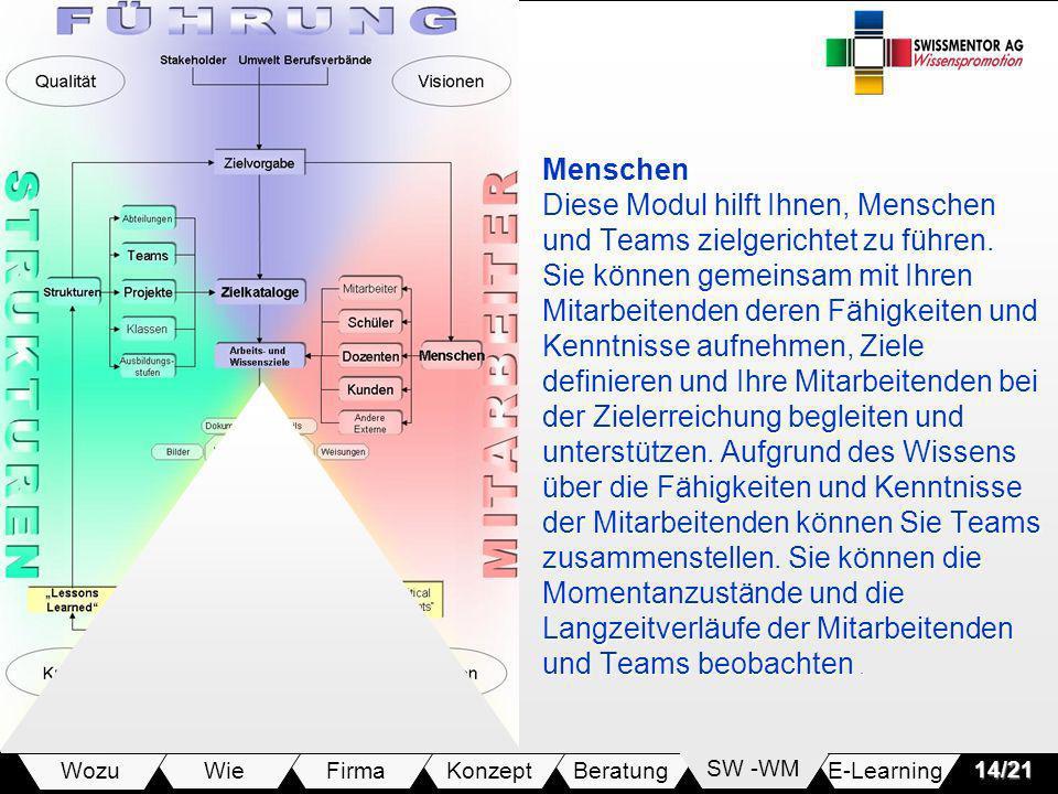 E-LearningSW -WMBeratungKonzeptFirmaWie Wozu14/21 Menschen Diese Modul hilft Ihnen, Menschen und Teams zielgerichtet zu führen. Sie können gemeinsam m