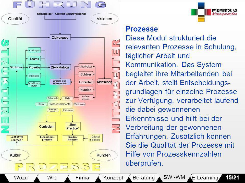 E-LearningSW -WMBeratungKonzeptFirmaWie Wozu15/21 Prozesse Diese Modul strukturiert die relevanten Prozesse in Schulung, täglicher Arbeit und Kommunikation.