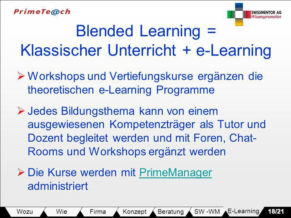 SW -WMBeratungKonzeptFirmaWie Wozu18/21 Blended Learning = Klassischer Unterricht + e-Learning Workshops und Vertiefungskurse ergänzen die theoretischen e-Learning Programme Workshops und Vertiefungskurse ergänzen die theoretischen e-Learning Programme Jedes Bildungsthema kann von einem ausgewiesenen Kompetenzträger als Tutor und Dozent begleitet werden und mit Foren, Chat- Rooms und Workshops ergänzt werden Jedes Bildungsthema kann von einem ausgewiesenen Kompetenzträger als Tutor und Dozent begleitet werden und mit Foren, Chat- Rooms und Workshops ergänzt werden Die Kurse werden mit PrimeManager administriert Die Kurse werden mit PrimeManager administriertPrimeManager E-Learning