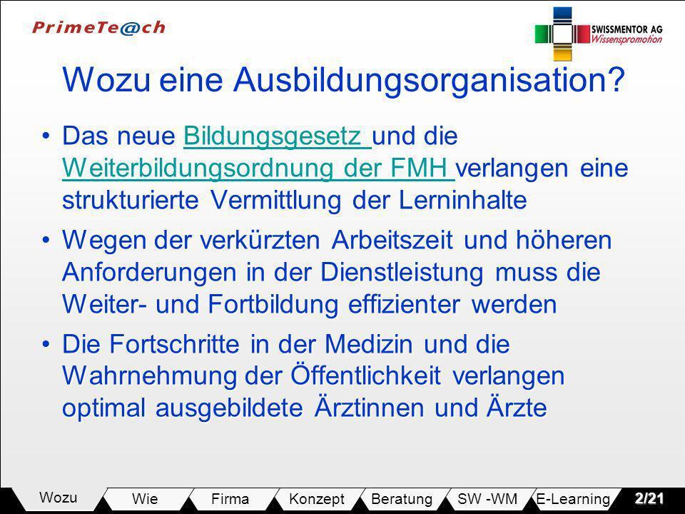 E-LearningSW -WMBeratungKonzeptFirmaWie Wozu2/21 Wozu eine Ausbildungsorganisation? Das neue Bildungsgesetz und die Weiterbildungsordnung der FMH verl