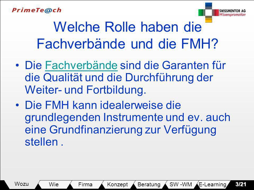E-LearningSW -WMBeratungKonzeptFirmaWie Wozu3/21 Welche Rolle haben die Fachverbände und die FMH? Die Fachverbände sind die Garanten für die Qualität