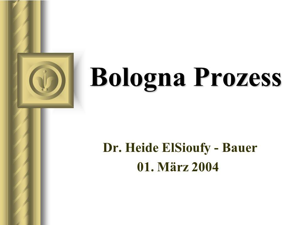 Bologna Prozess Dr. Heide ElSioufy - Bauer 01. März 2004 Bei dieser Präsentation wird sicher ein Diskussion mit dem Publikum entstehen, die zu Aktions