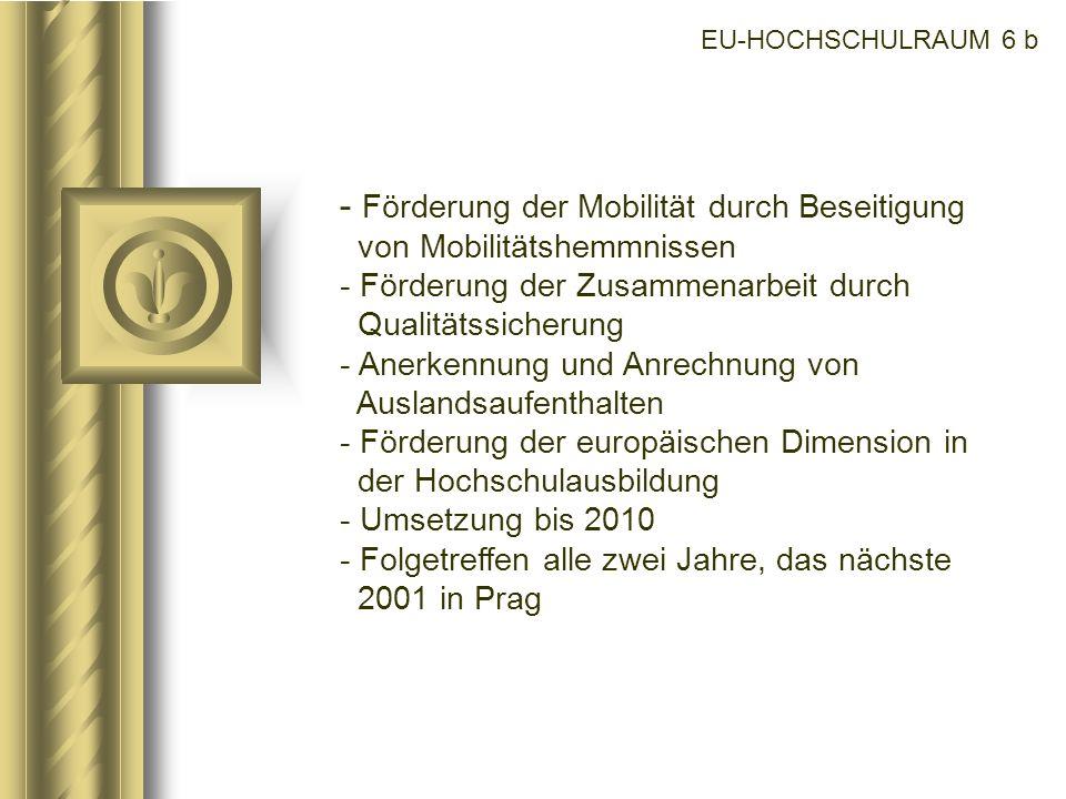 EU-HOCHSCHULRAUM 6 b - Förderung der Mobilität durch Beseitigung von Mobilitätshemmnissen - Förderung der Zusammenarbeit durch Qualitätssicherung - An